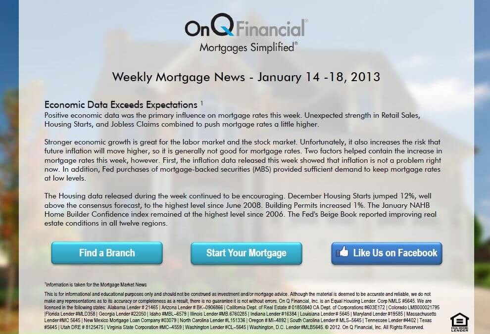 Weekly Mortgage News – January 14-18, 2013