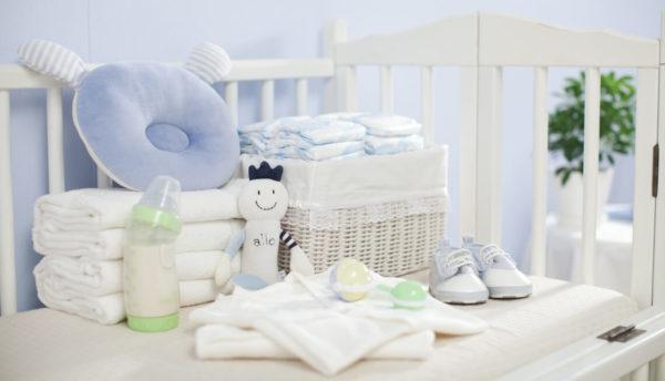 Baby supplies sitting on a crib