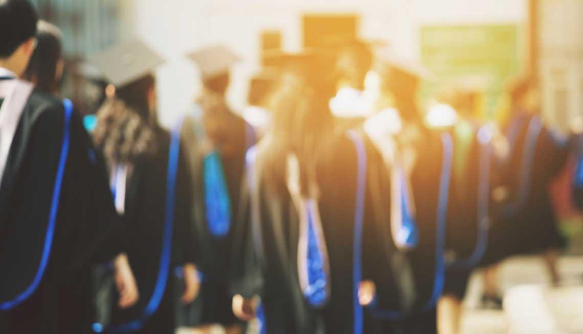 Blurry image of graduates
