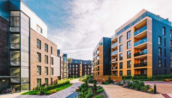 Apartment complex courtyard