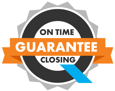 Badge with a giant Q from On Q Financial's logo reading: On Time Closing Guarantee