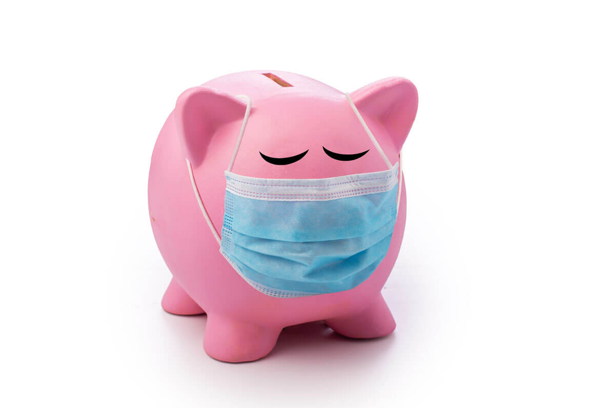 piggy bank with a facemask
