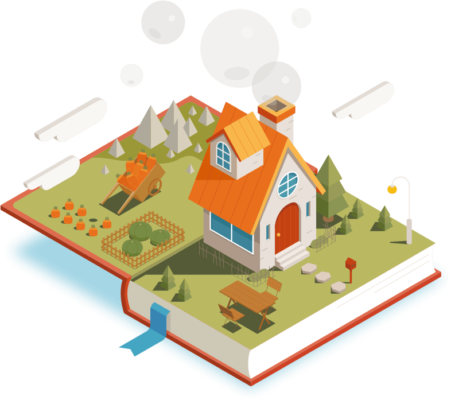 vector image of an open book revealing a three-dimensional house and garden