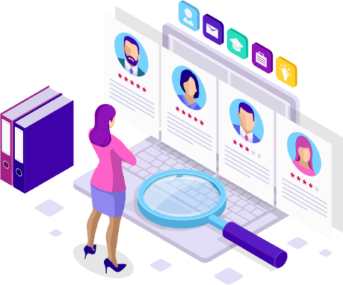 vector image of a woman standing in front of an oversized laptop, looking at profiles of people that are displayed off the screen