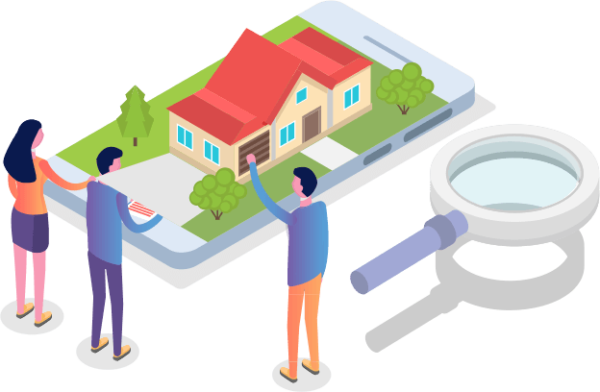 vector image of people looking at a house that is built upon an oversized mobile phone