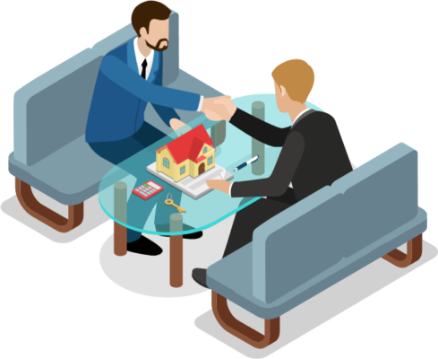 vector image of two people shaking hands over a glass coffe table with a model of a house sitting atop it