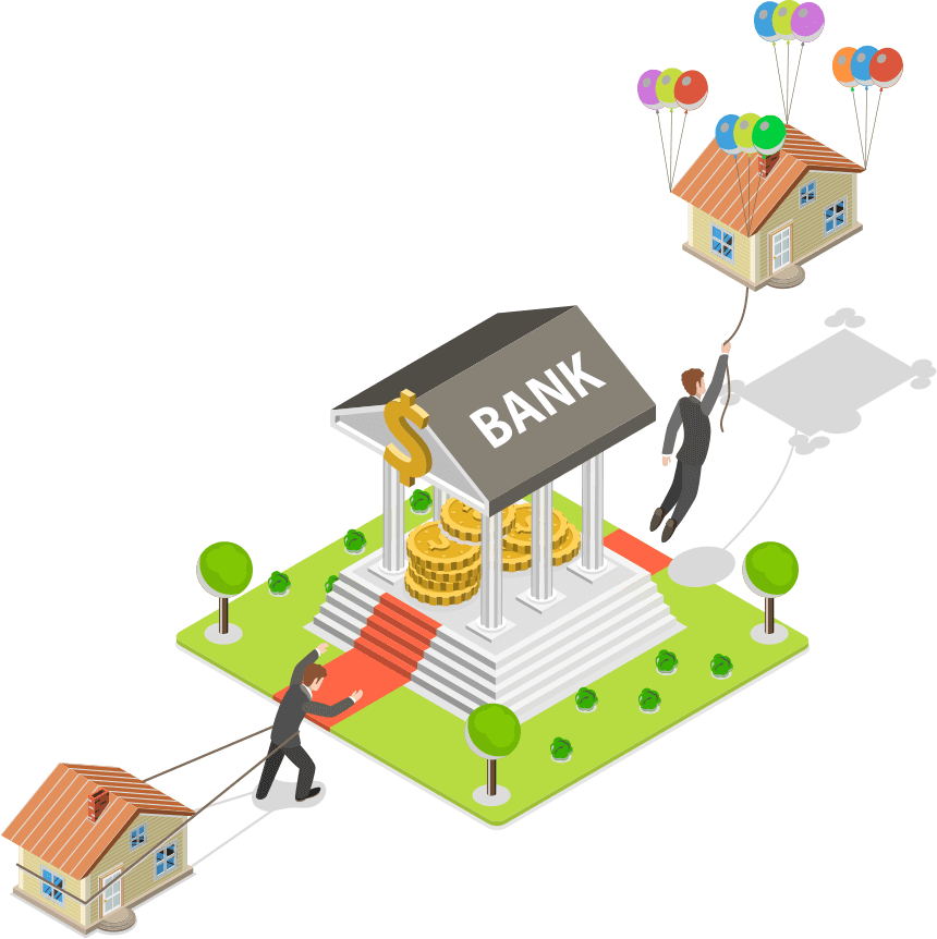 vector image of a man dragging a human-sized house tied to him with ropes to a six columned structure with oversized coins in the center and the word bank written on the roof while behind the structure a man is floating away holding a rope connected to the same sized house with balloons attached