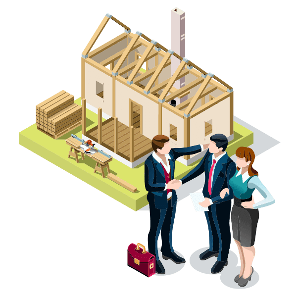 vector image of business man shaking hands with a couple in front of a partially built house