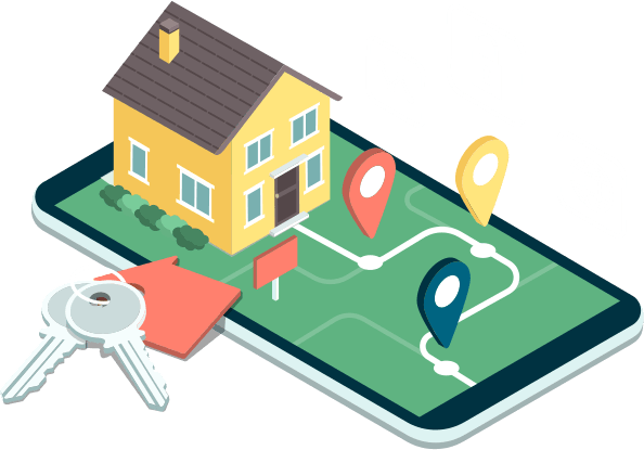vector image of a mobile device laying face up with a map app open with a road and three dimensional markers leading up to a three dimensional house sitting atop the phone