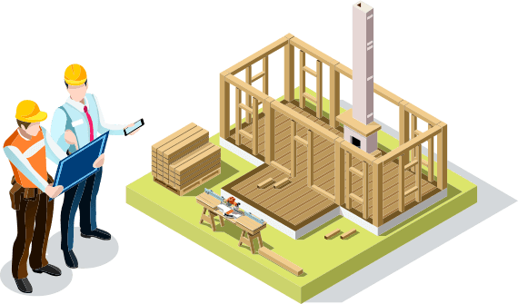 vector image of two men in hardhats looking over a blueprint beside an undersized house under construction
