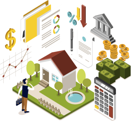vector image of a man quizically looking at a house surrounded by floating images of types of currency, forms, documents, graphs and a calculator