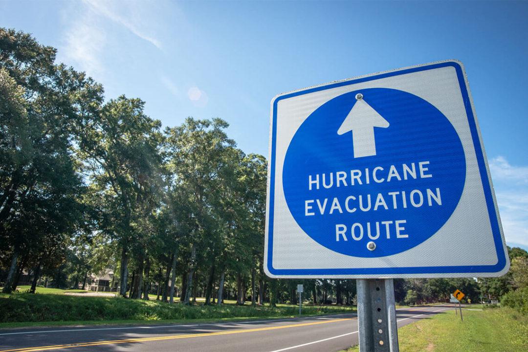 Hurricane Evacuation Route road sign