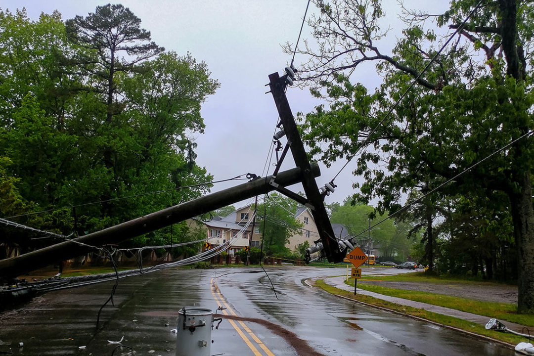 A fallen power line pole in front of a Bump road sign