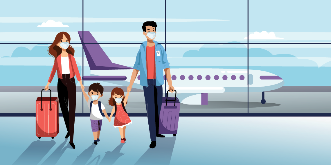 family walking in airport covid aware