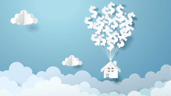 paper cutouts of clouds and a house lifted into the sky by dollar signs attached with strings (like balloons)