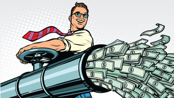Illustration of a guy funneling money to show savings